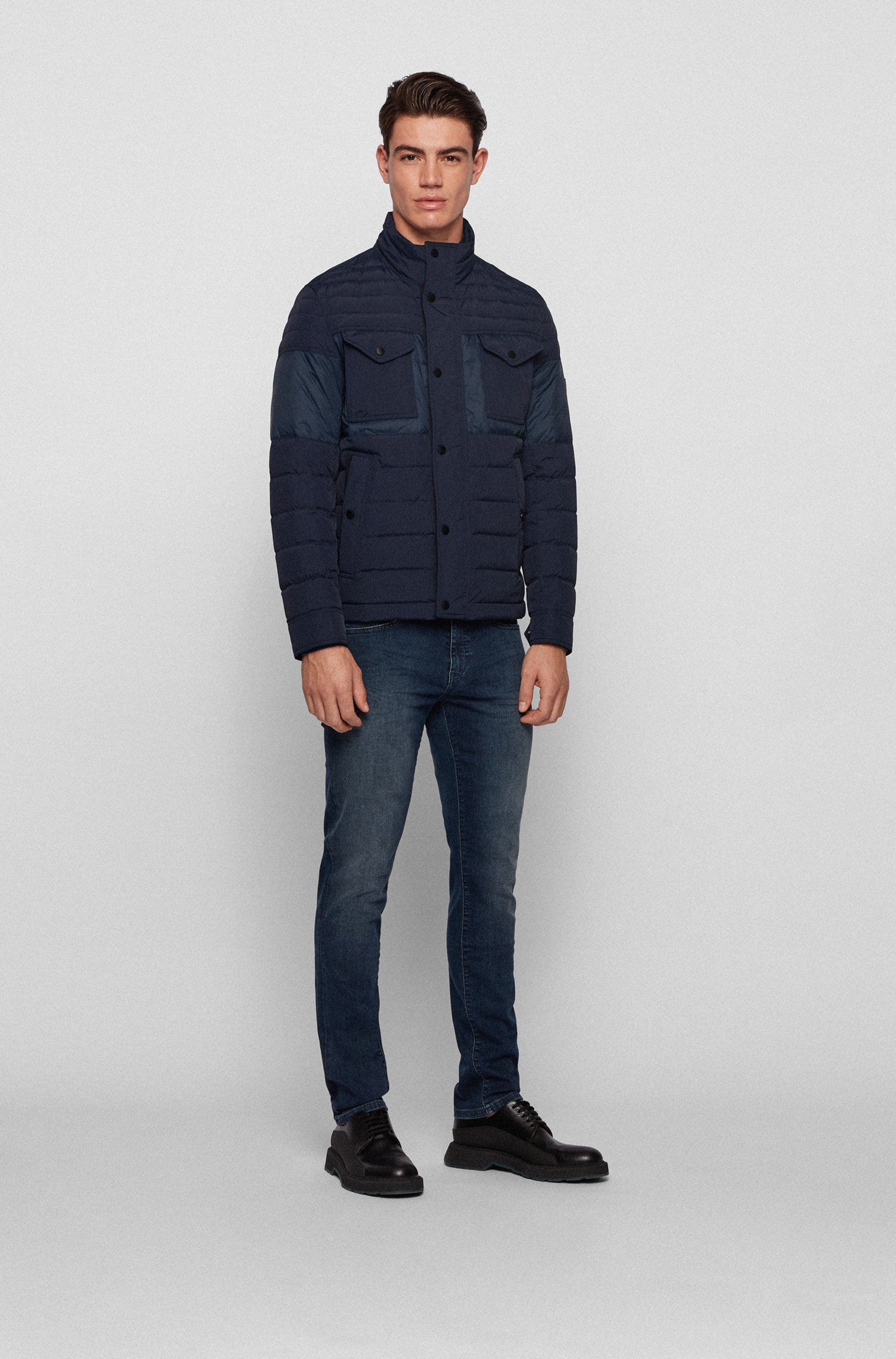 Slim-fit water-repellent jacket with down filling