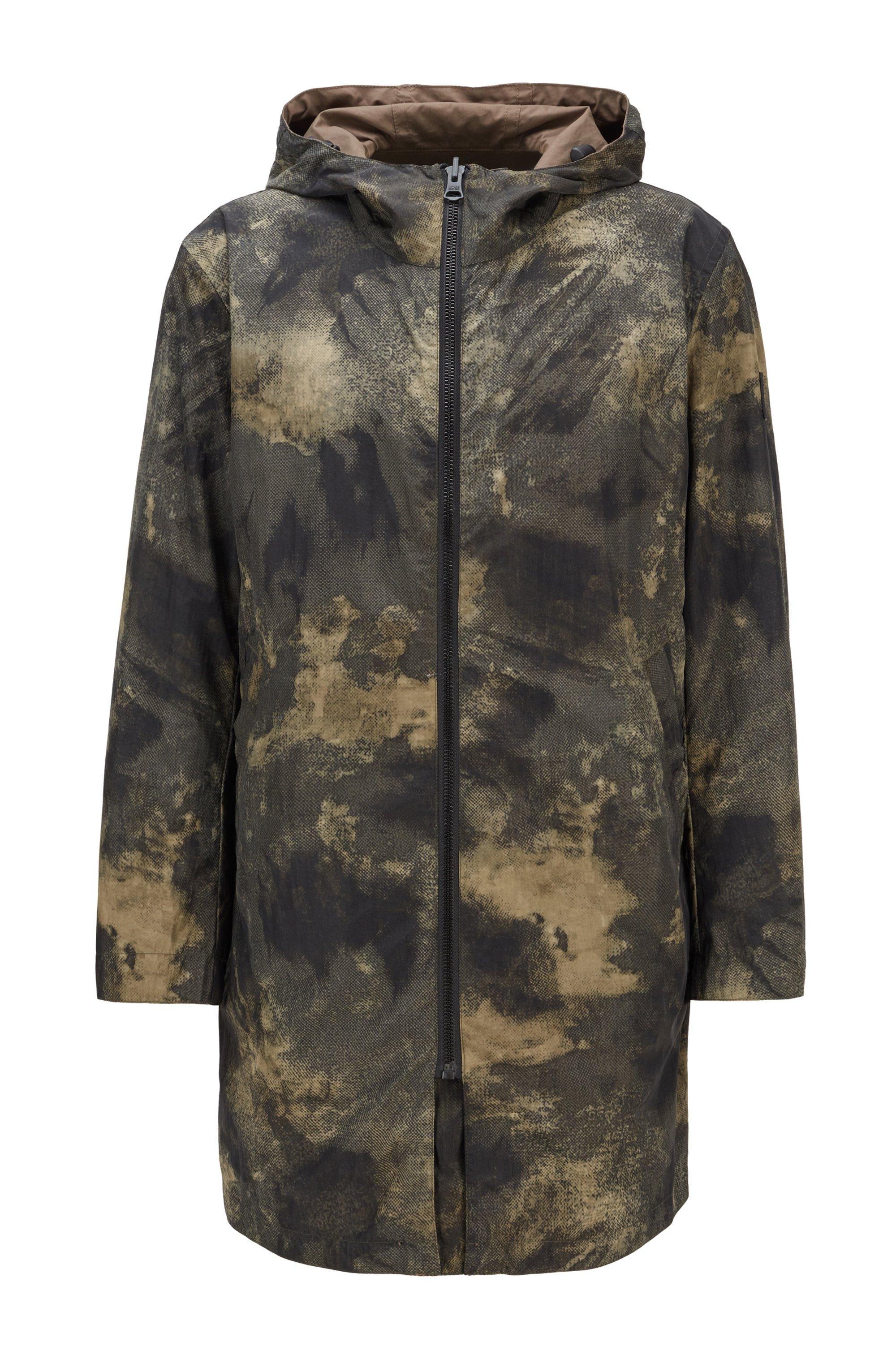 Wendejacke mit digitalem Camouflage-Print und Kapuze, Beige gemustert