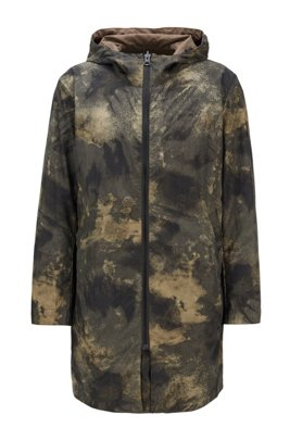 Reversible hooded jacket with digitally printed camouflage motif, Beige Patterned