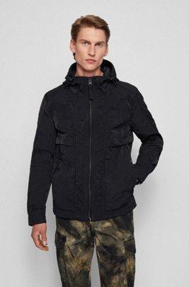 Lightweight water-repellent jacket with adjustable hood, Black