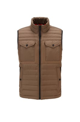 Water-repellent down gilet with patch pockets, Beige