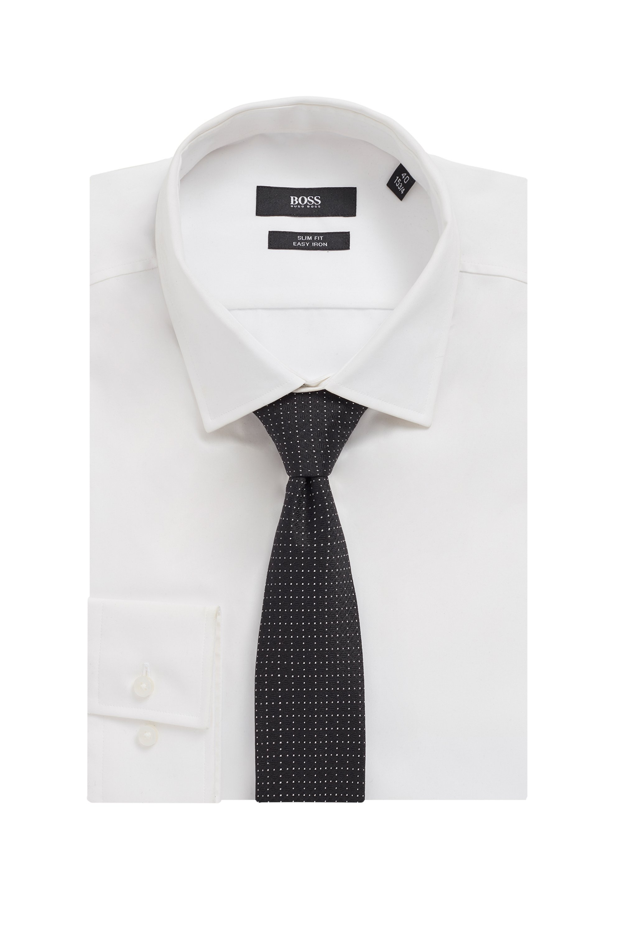 Italian-made tie in pure silk with micro pattern