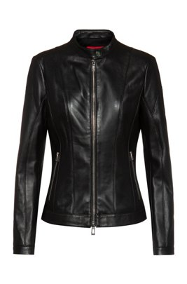 Regular-fit leather jacket with textured panels, Black