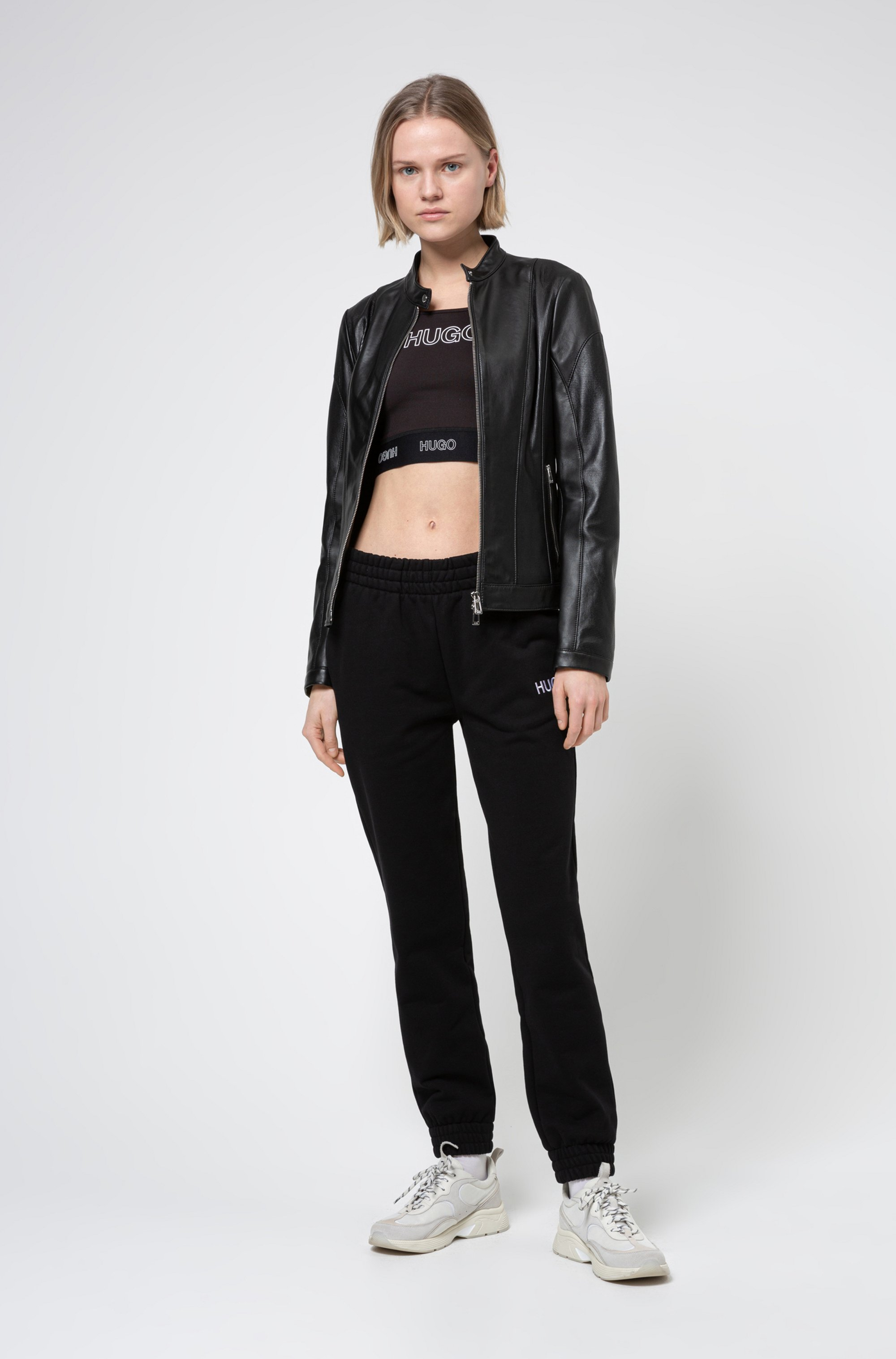 Regular-fit leather jacket with textured panels