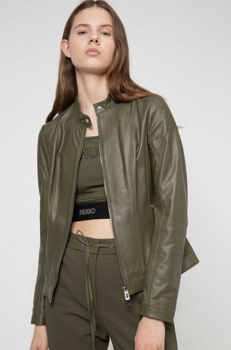 Regular-fit leather jacket with textured panels, Khaki