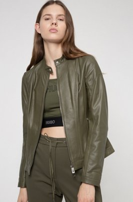 Regular-fit leather jacket with textured panels, Khaki