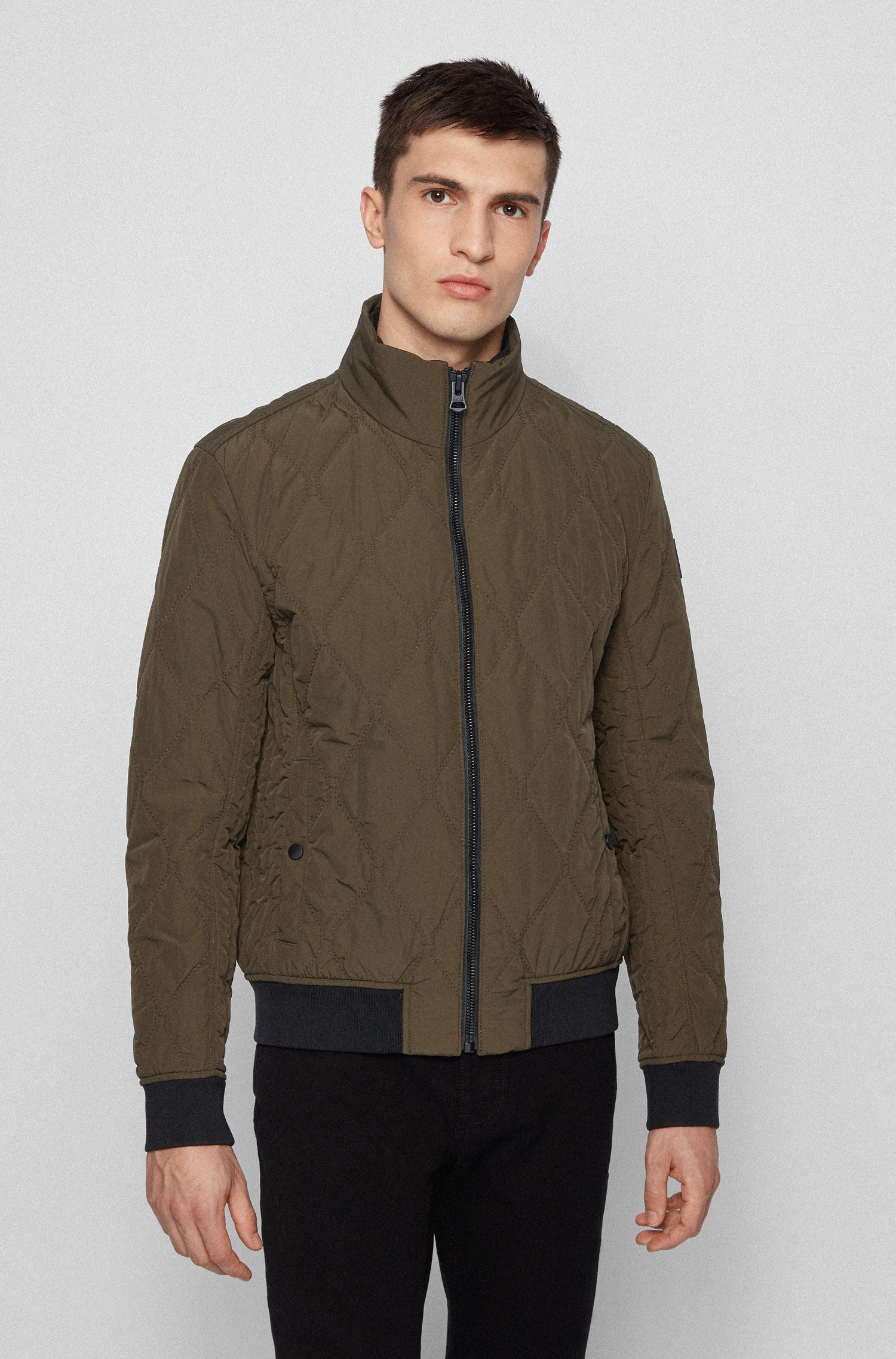 Water-repellent bomber jacket with mixed quilting, Khaki