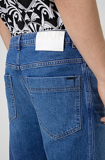 蓝色舒适弹力宽松牛仔裤,  430_亮蓝色