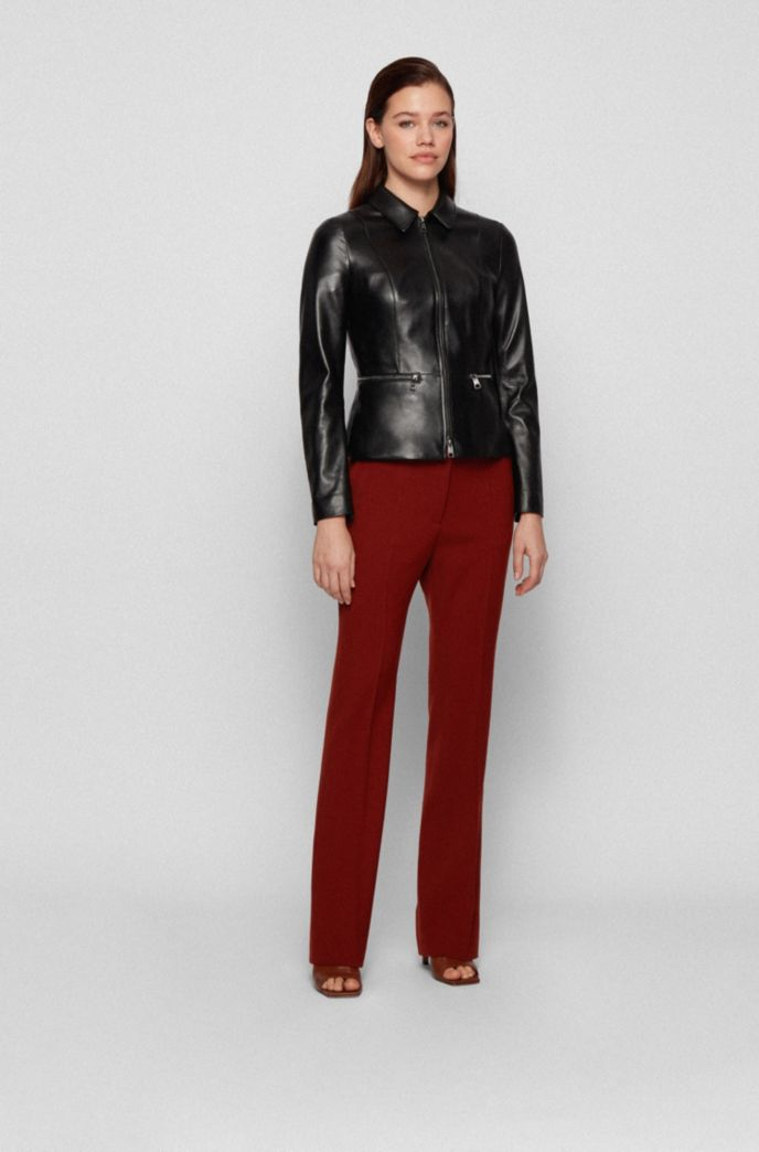 Regular-fit jacket in lamb leather with zipped waistline