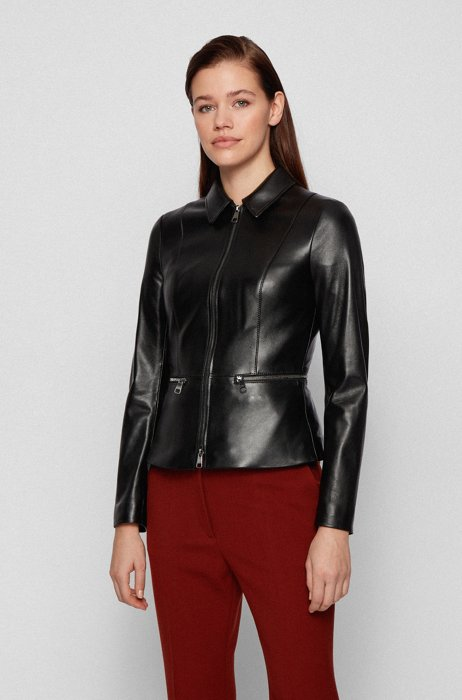 Regular-fit jacket in lamb leather with zipped waistline, Black