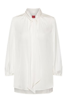 Relaxed-fit tie-neck top in stretch silk, White