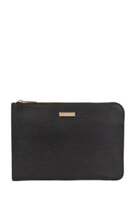 Portfolio case in embossed Italian leather with detachable handle, Black