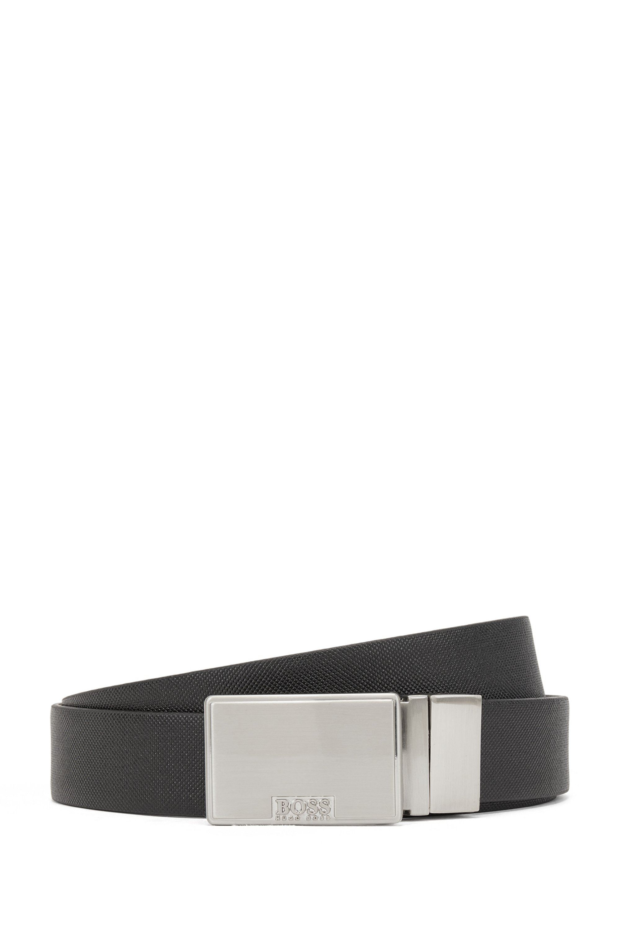 Reversible belt in leather with plaque and pin buckles, Black