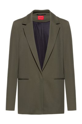 Long-line regular-fit jacket in stretch twill, Khaki