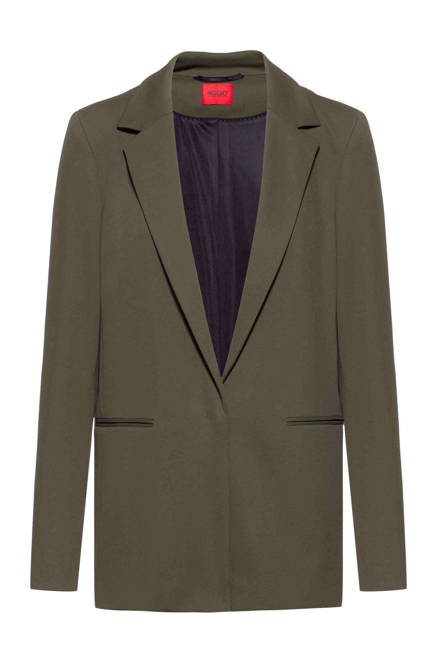 Long-line regular-fit jacket in stretch twill, Khaki