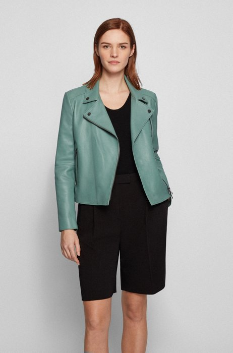 Regular-fit biker jacket in naturally tanned leather, Turquoise