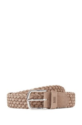 Woven belt in suede with logo keeper, Beige
