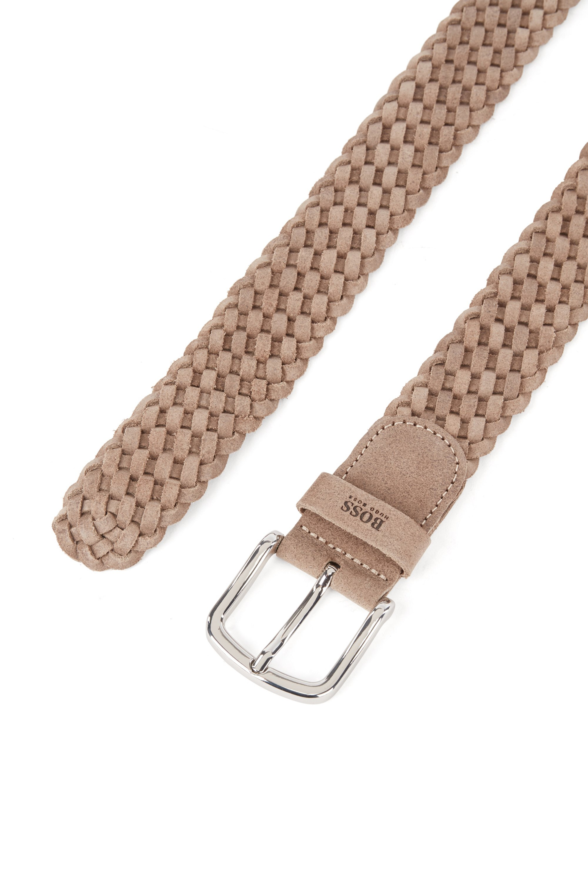 Woven belt in suede with logo keeper