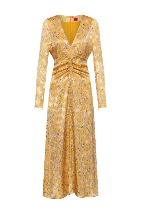 V-neck maxi dress in lightweight fabric with brushstroke print, Patterned