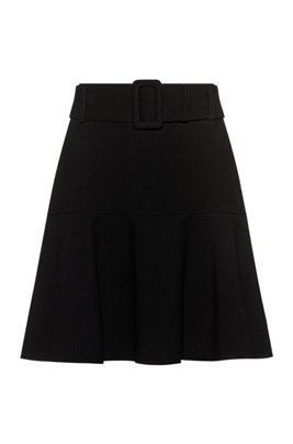 Mini skirt in stretch fabric with flared detail, Black
