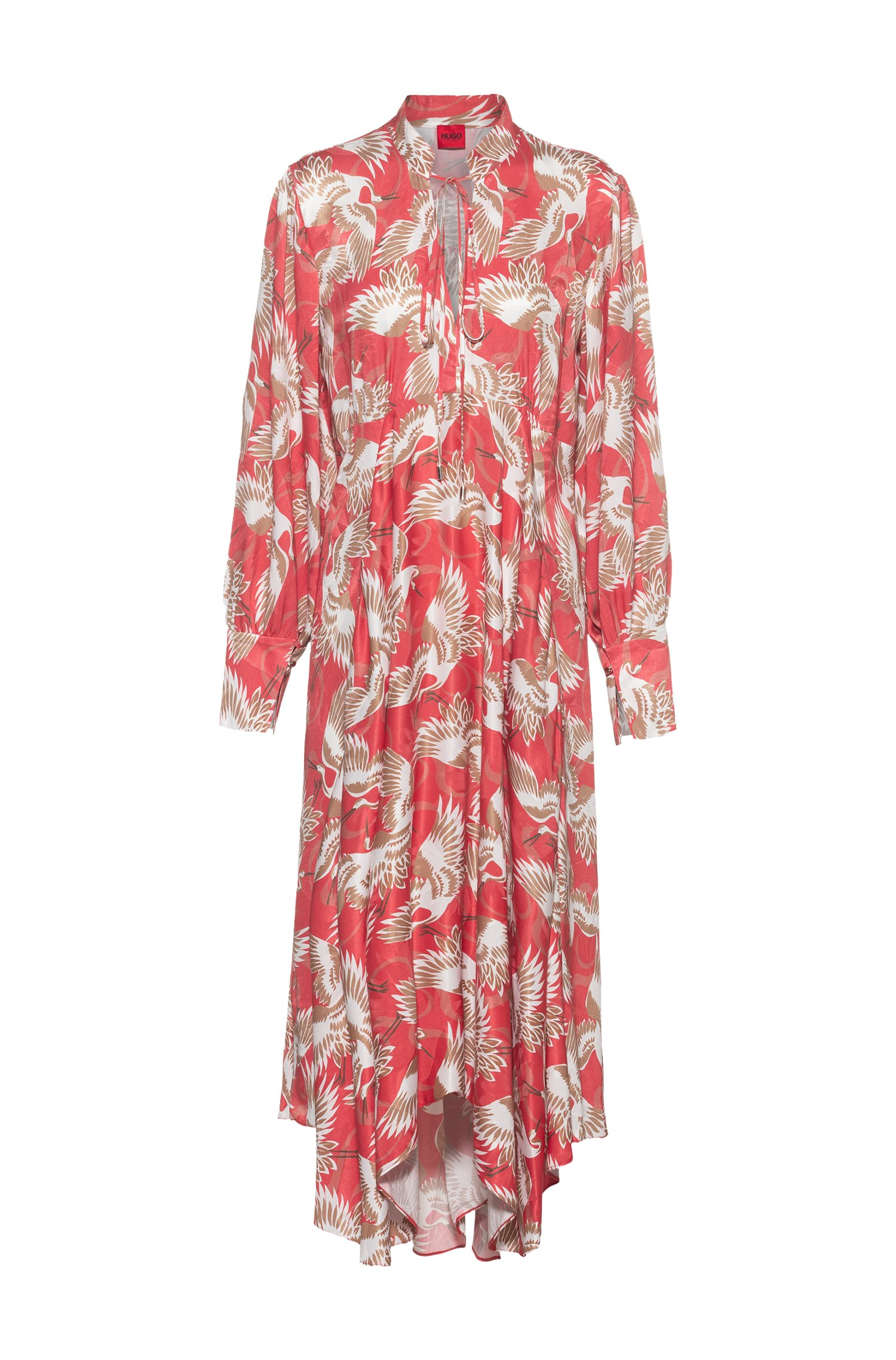 Crane-print long-sleeved midi dress with tie detail, Red Patterned