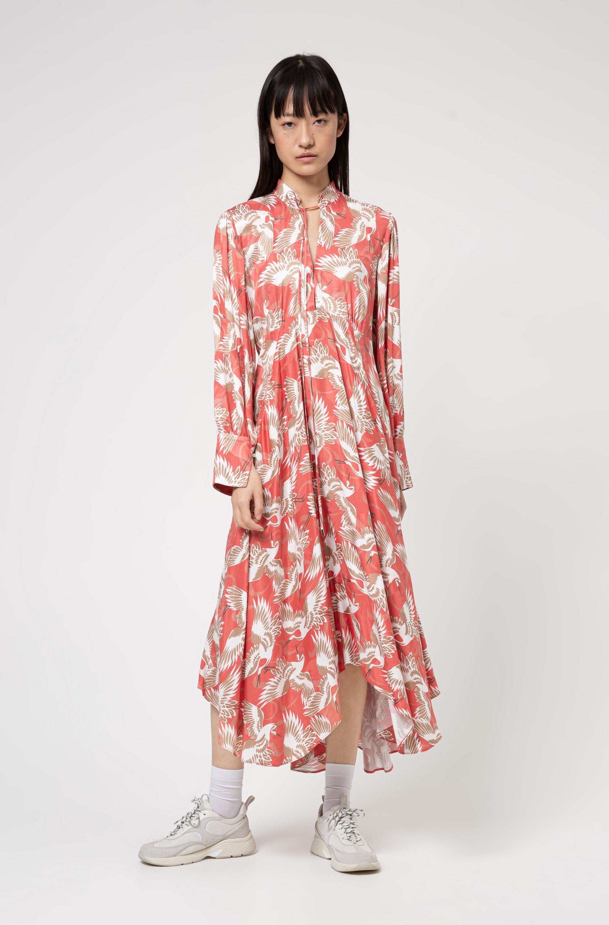 Crane-print long-sleeved midi dress with tie detail