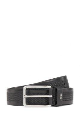 Leather belt with printed monogram motif, Black