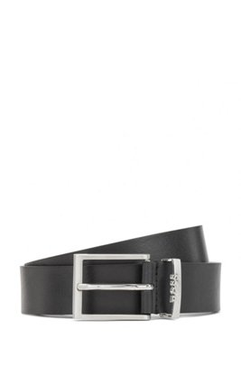 Italian-made belt in leather with logo keeper, Black