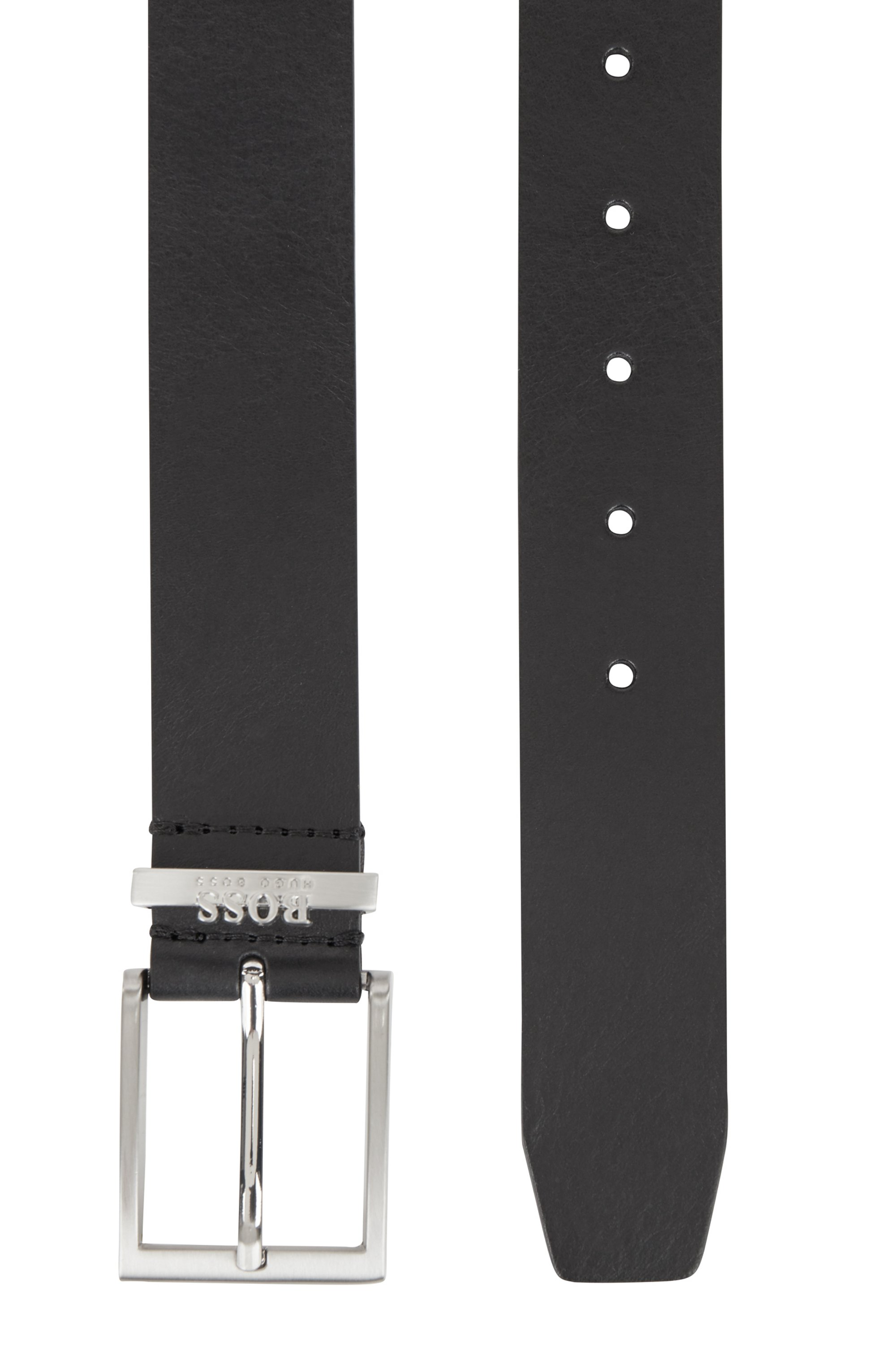 Italian-made belt in leather with logo keeper