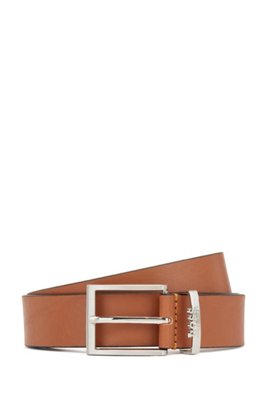 Italian-made belt in leather with logo keeper, Brown