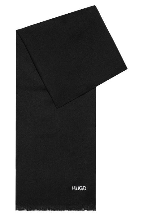 Sjaal met logoprint en korte franjes, Zwart