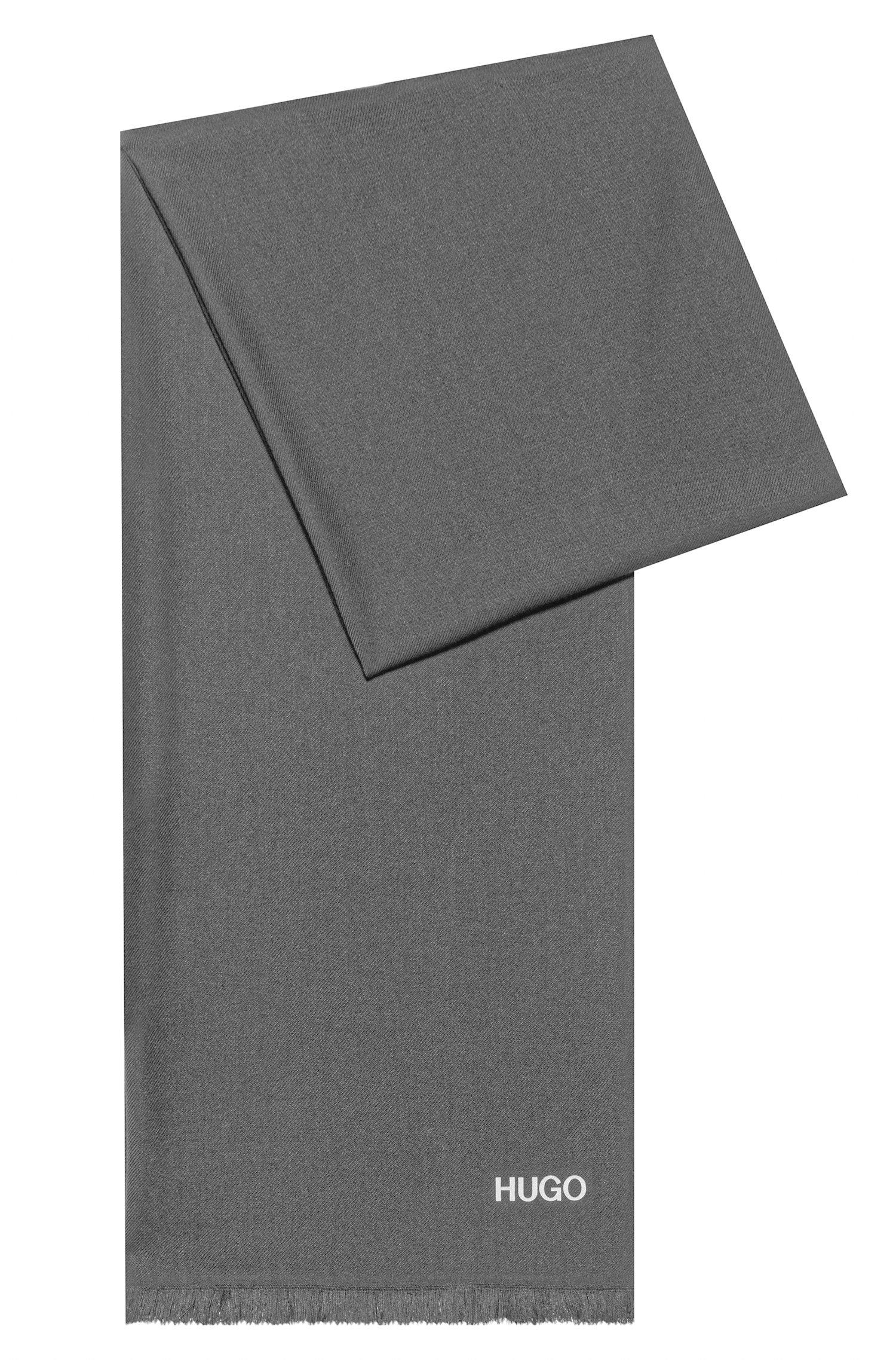 Écharpe à franges courtes avec logo imprimé, Gris