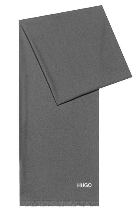 Schal mit Logo-Print und kurzen Fransen, Grau