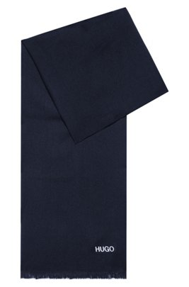 Logo-print scarf with short fringing, Dark Blue