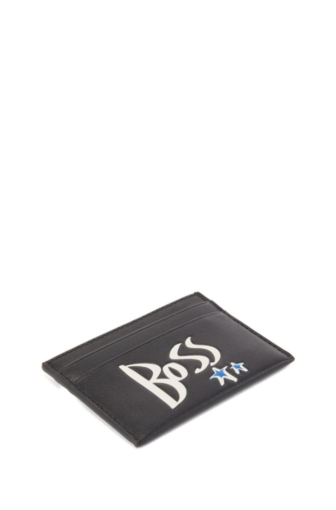 Leather card holder with stars and logo