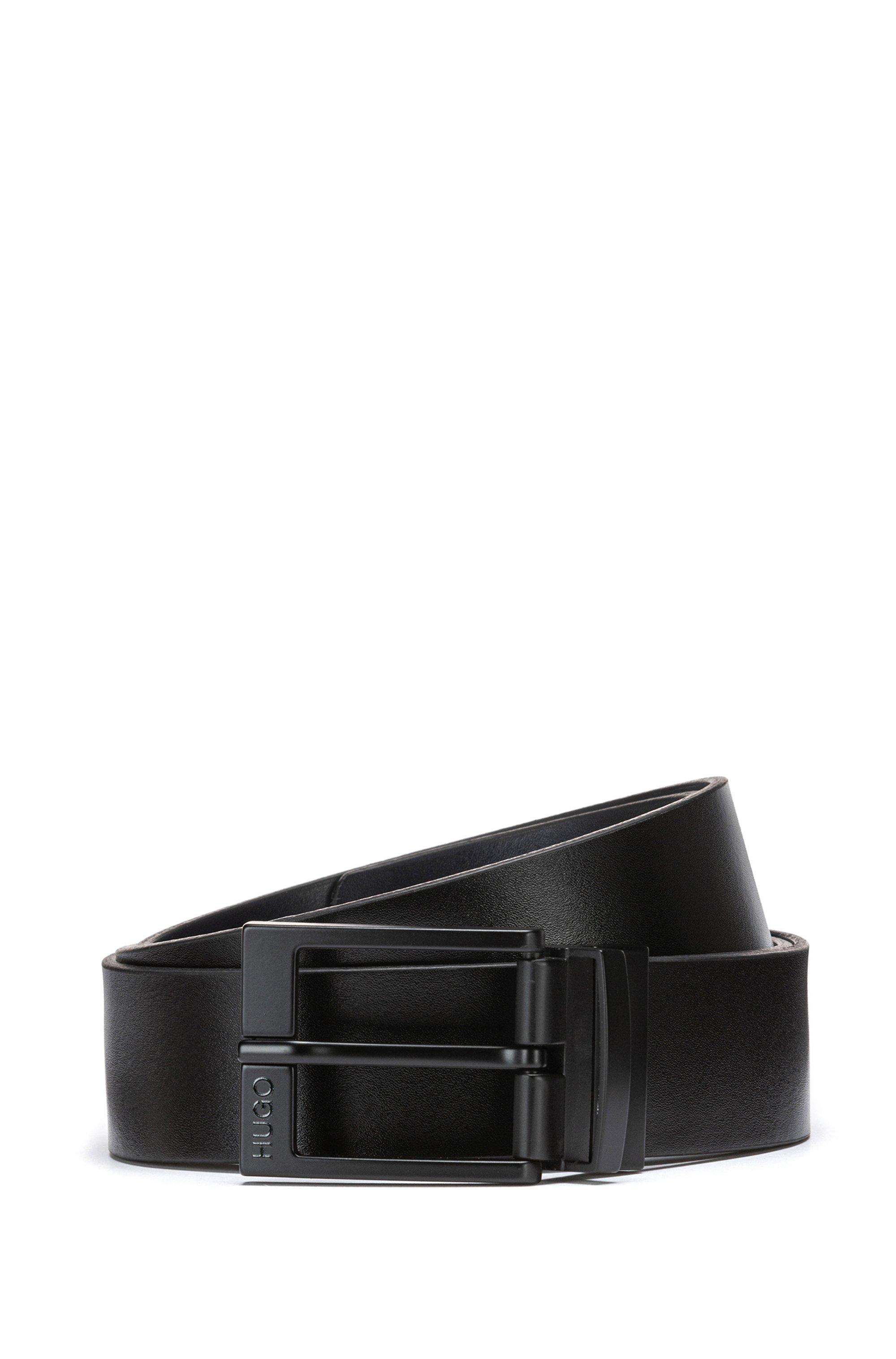 Reversible leather belt with black-varnished pin and plaque buckles, Black