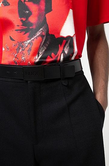 黑色漆面针扣加牌扣双面皮革腰带,  004_黑色