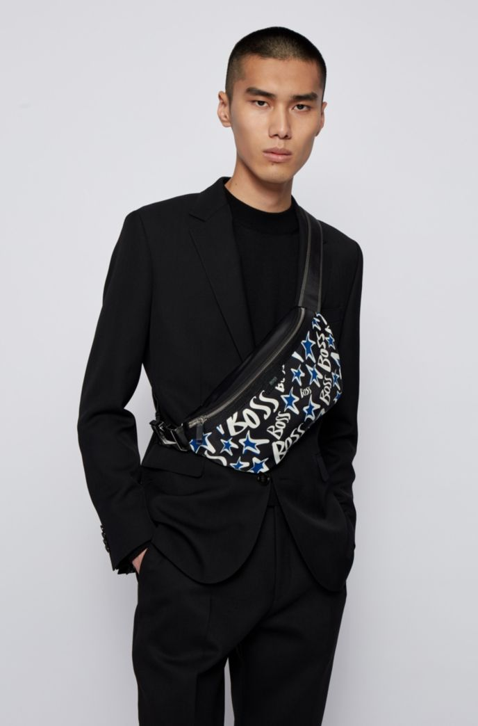 Belt bag with digitally printed stars and logos