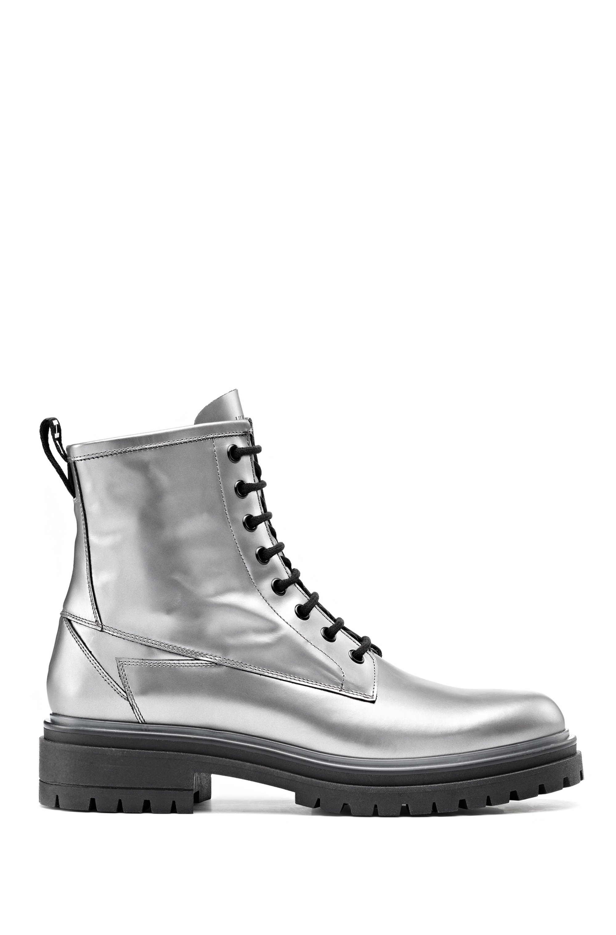 Lug-sole lace-up boots in laminated Italian leather, Silver