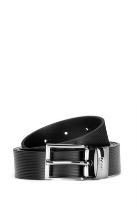 Italian-made reversible leather belt with plaque and buckle, Black