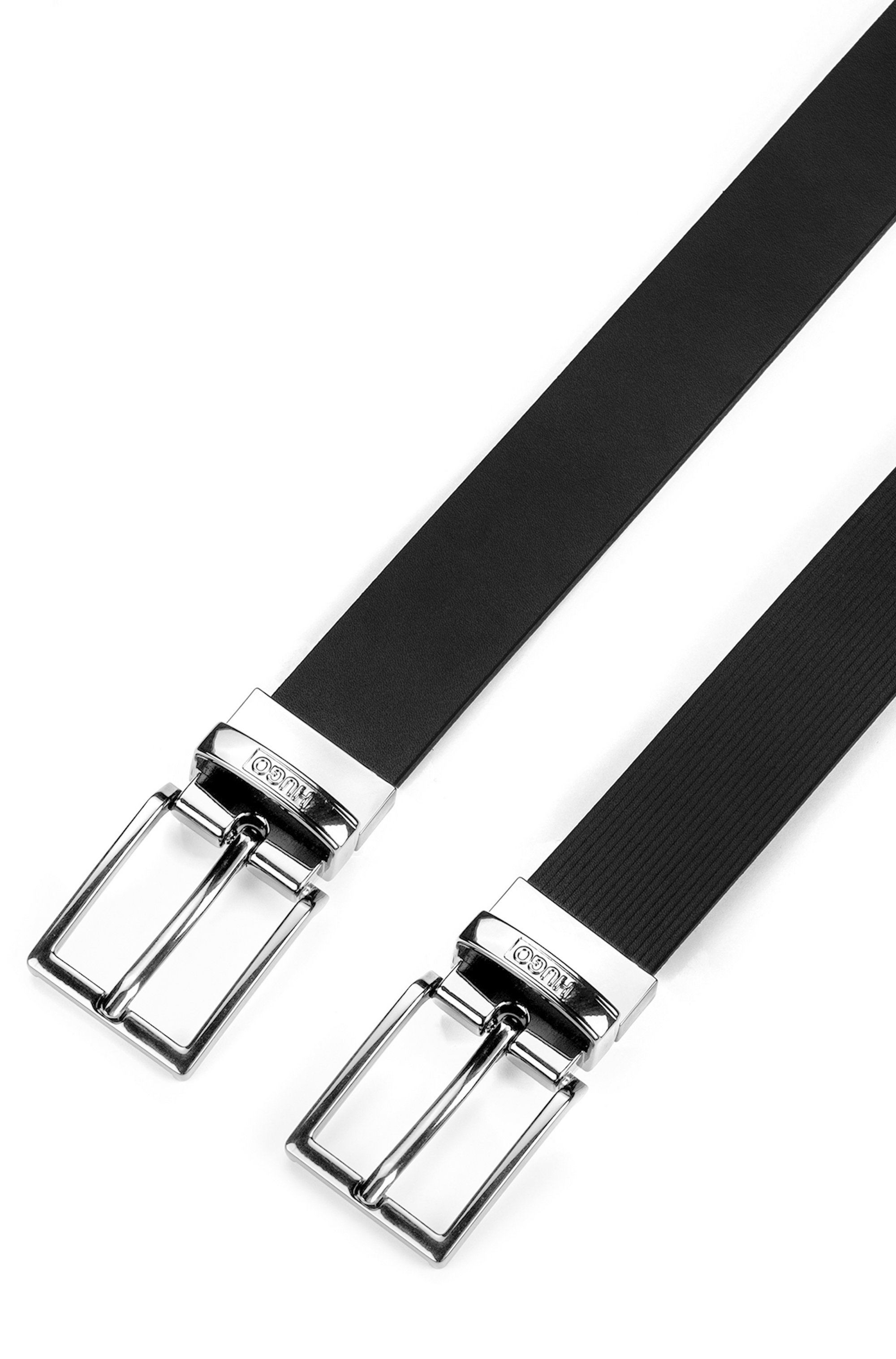 Italian-made reversible leather belt with plaque and buckle