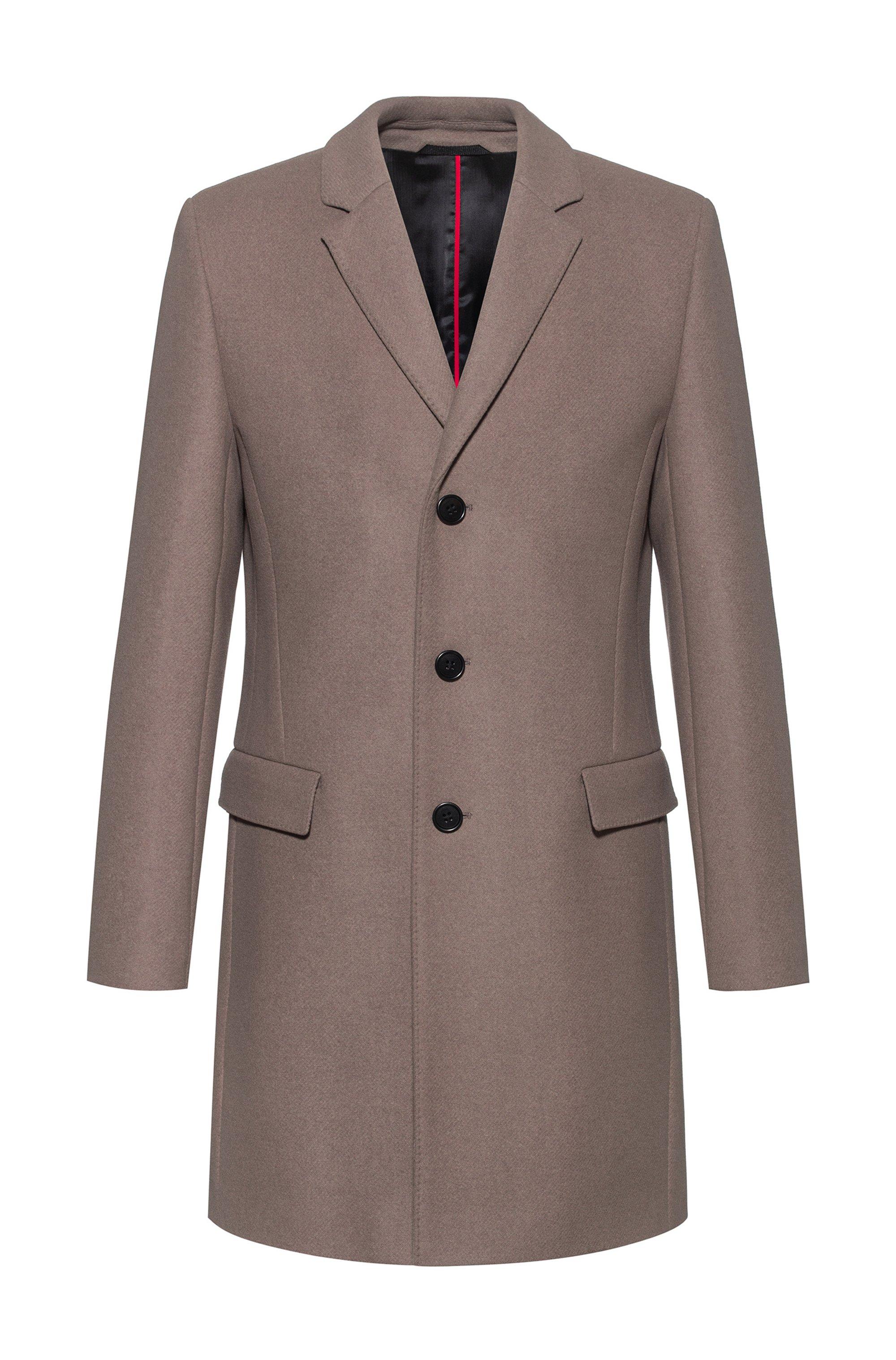 Slim-fit coat in a melange virgin-wool blend, Light Brown