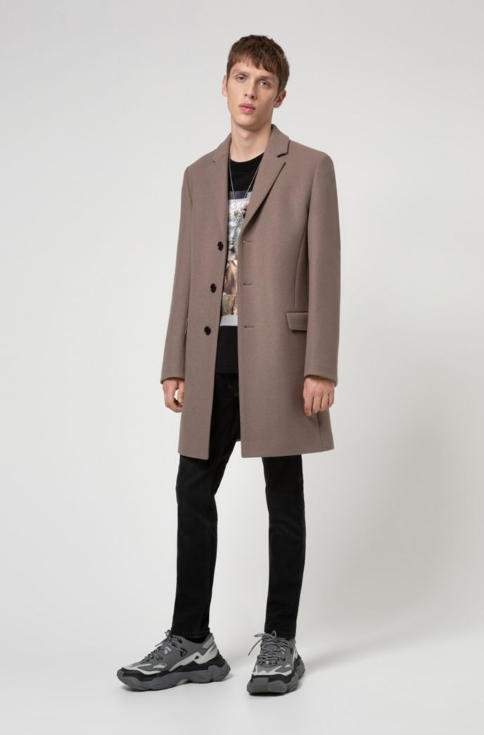 Slim-fit coat in a melange virgin-wool blend