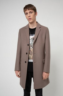 Slim-fit coat in a melange virgin-wool blend, Light Brown