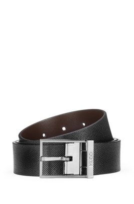 Reversible belt in structured and smooth leather, Black