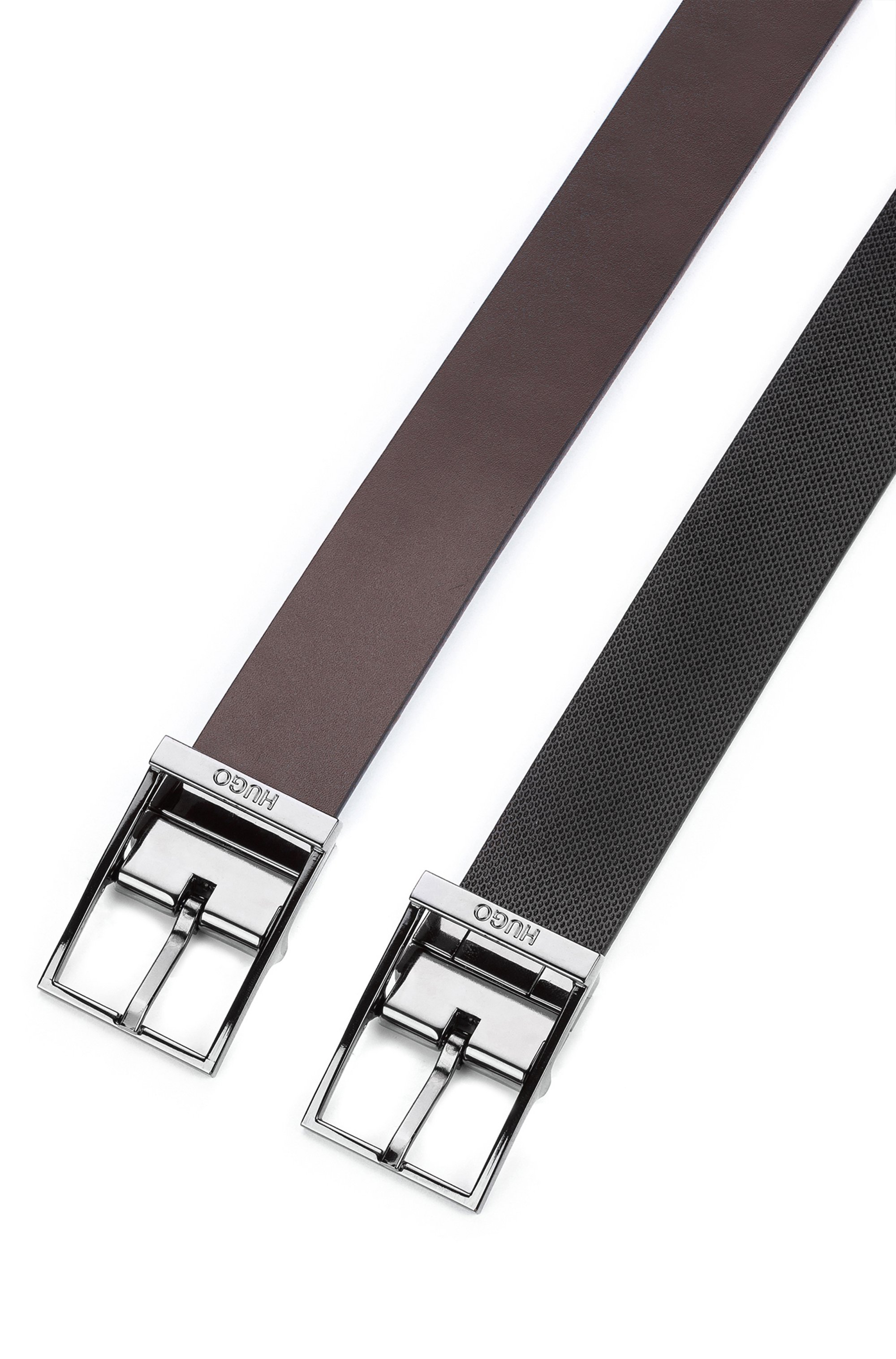 Reversible belt in structured and smooth leather