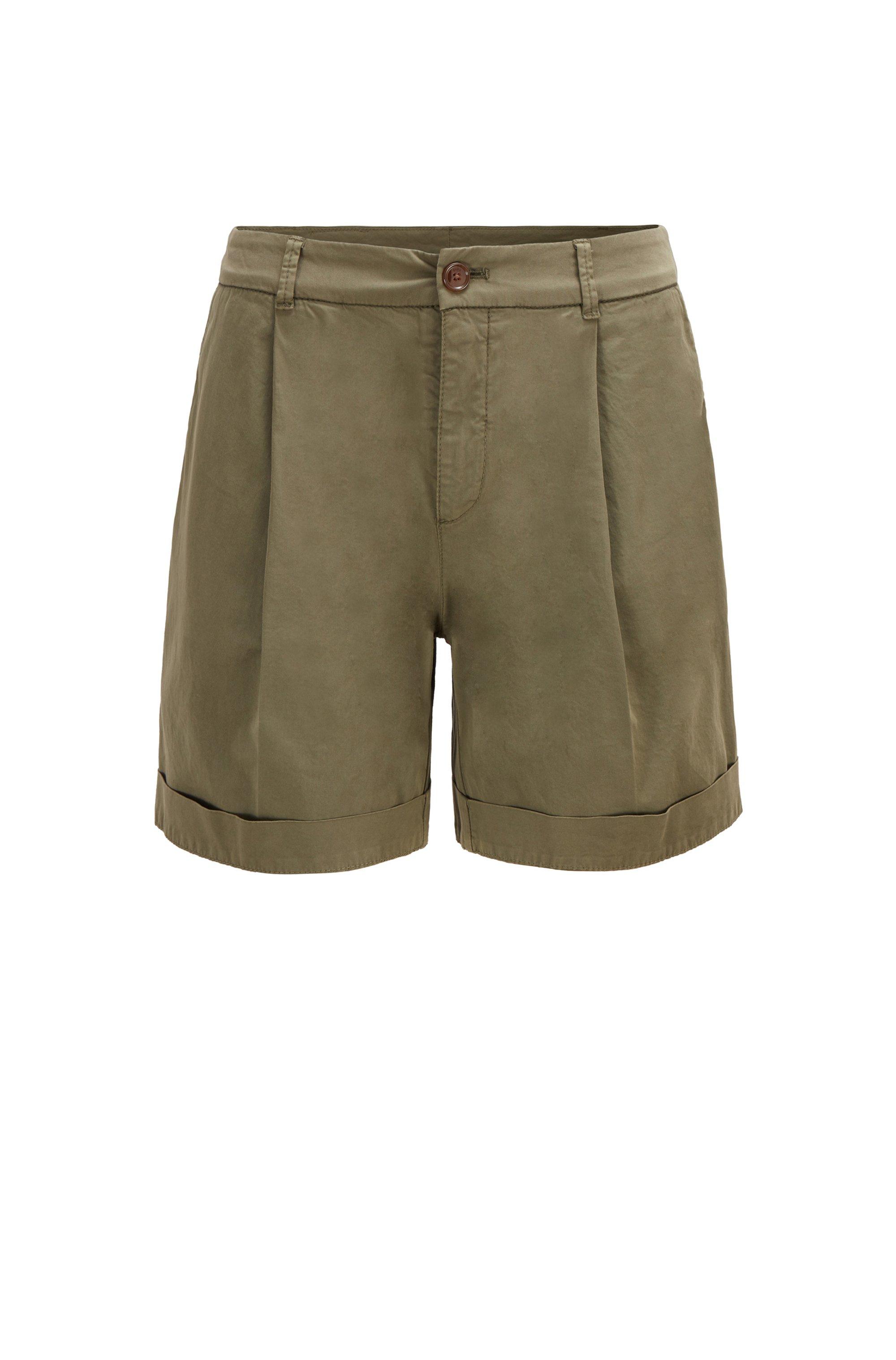 Relaxed-Fit Chino-Shorts aus elastischer Bio-Baumwolle, Khaki