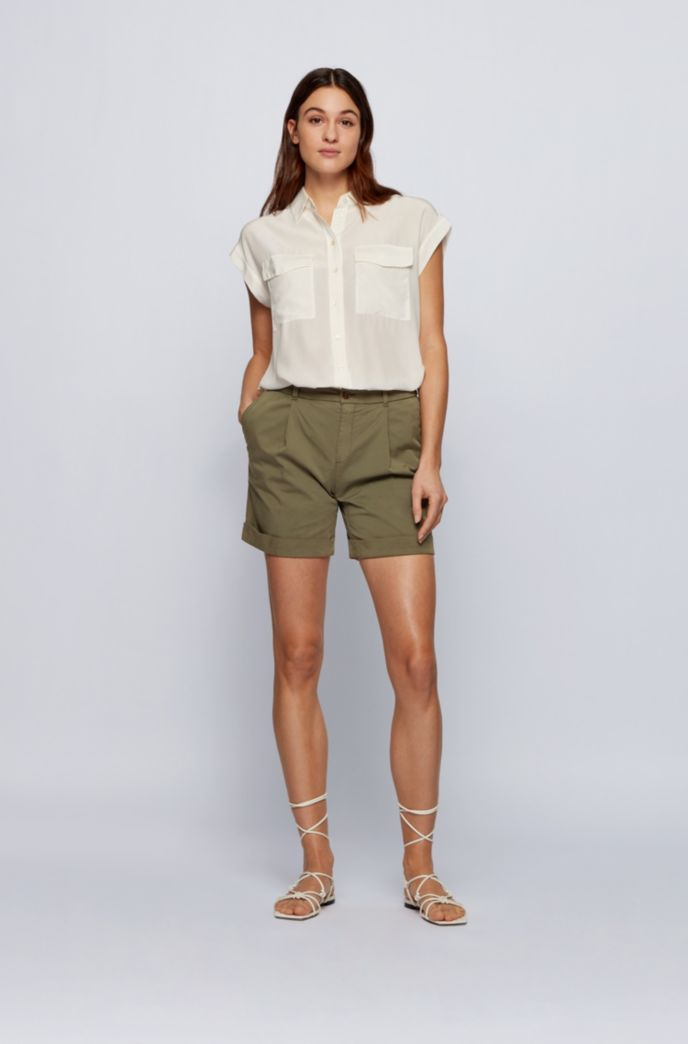 Relaxed-fit chino shorts in organic stretch cotton