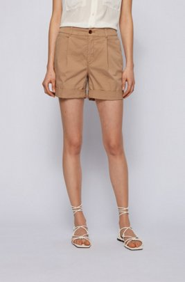 Relaxed-fit chino shorts in organic stretch cotton, Beige
