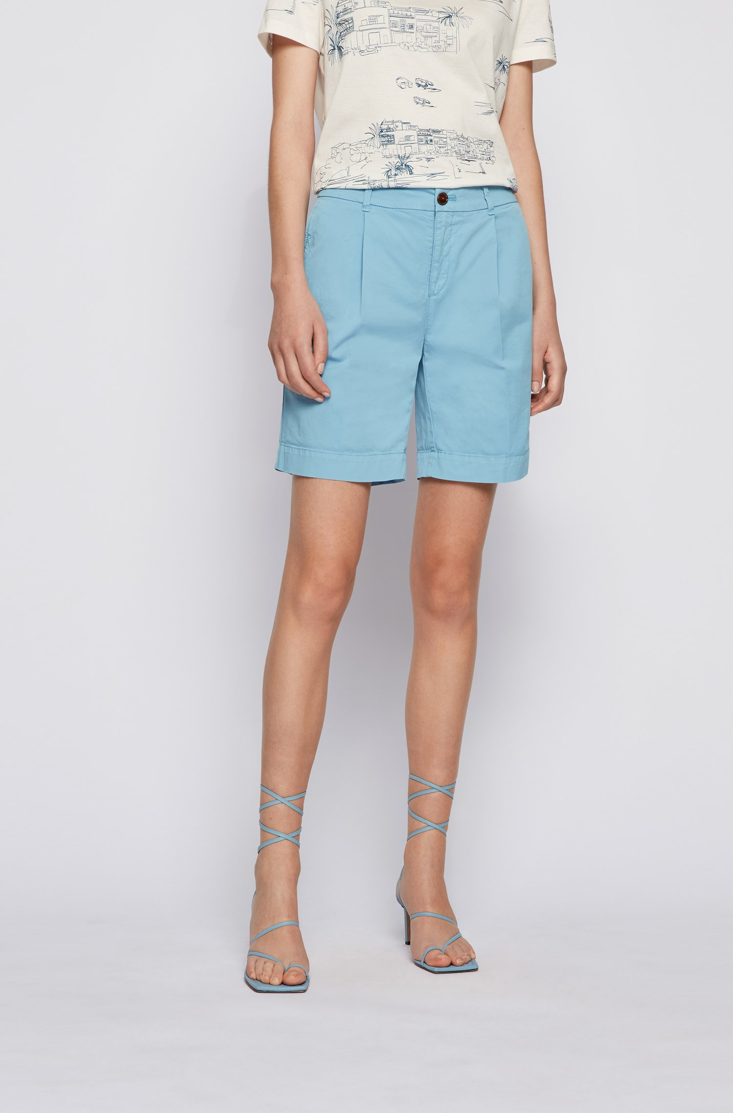 Relaxed-fit chino shorts in organic stretch cotton, Light Blue
